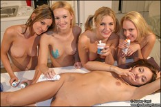 Jordan Capri gets turned into an ice cream sundae and her girlfriends lick her all over! from Jordan Capri