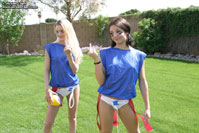 Jordan Capri and her girlfriends playing flag football in panties! from Jordan Capri